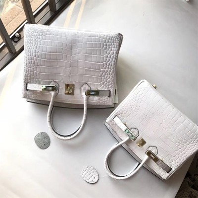 Hermes Birkin Bag Alligator Leather Gold Hardware In White