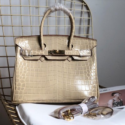 Hermes Birkin Bag Alligator Leather Gold Hardware In Apricot