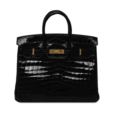 Hermes Birkin Bag Alligator Leather Gold Hardware In Black