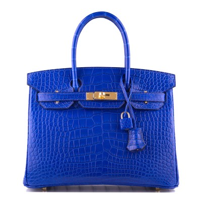 Hermes Birkin Bag Alligator Leather Gold Hardware In Blue