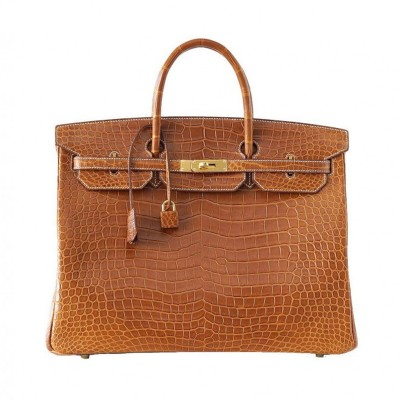 Hermes Birkin Bag Alligator Leather Gold Hardware In Brown