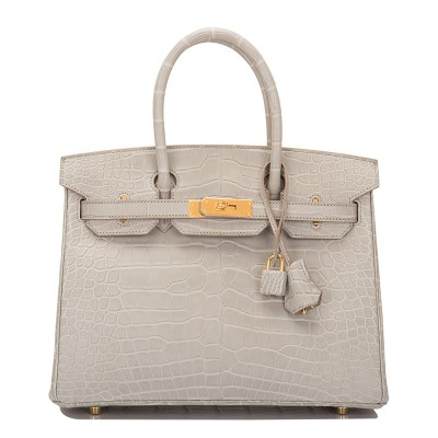 Hermes Birkin Bag Alligator Leather Gold Hardware In Grey