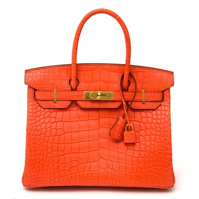 Hermes Birkin Bag Alligator Leather Gold Hardware In Orange