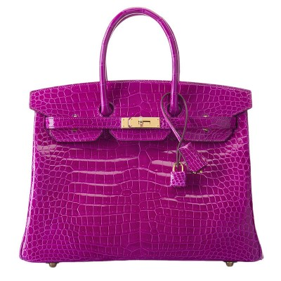 Hermes Birkin Bag Alligator Leather Gold Hardware In Purple