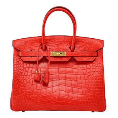 Hermes Birkin Bag Alligator Leather Gold Hardware In Red