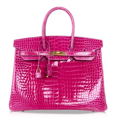 Hermes Birkin Bag Alligator Leather Gold Hardware In Rose