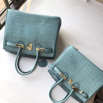 Hermes Birkin Bag Alligator Leather Gold Hardware In Sky Blue