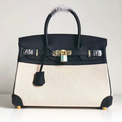 Hermes Birkin Bag Canvas Gold Hardware In Black