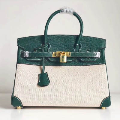 Hermes Birkin Bag Canvas Gold Hardware In Green