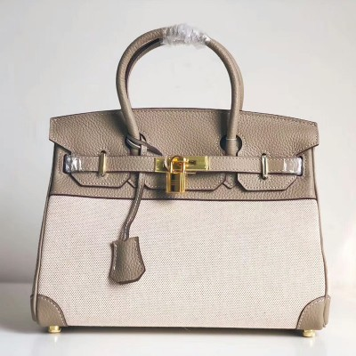 Hermes Birkin Bag Canvas Gold Hardware In Grey