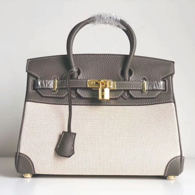 Hermes Birkin Bag Canvas Gold Hardware In Marble