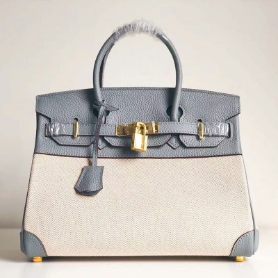 Hermes Birkin Bag Canvas Gold Hardware In Sky Blue