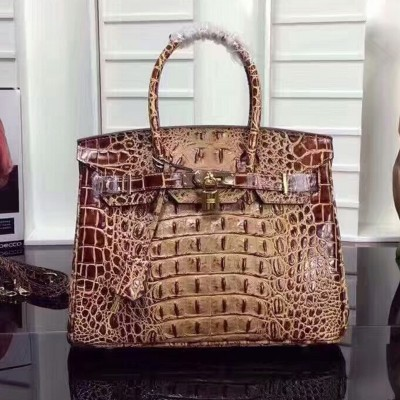 Hermes Birkin Bag Crocodile Leather Gold Hardware In Brown