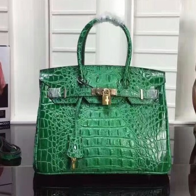 Hermes Birkin Bag Crocodile Leather Gold Hardware In Green