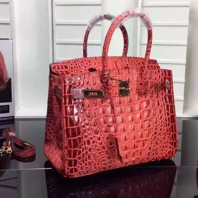 Hermes Birkin Bag Crocodile Leather Gold Hardware In Red