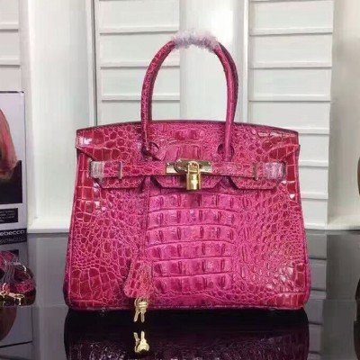Hermes Birkin Bag Crocodile Leather Gold Hardware In Rose