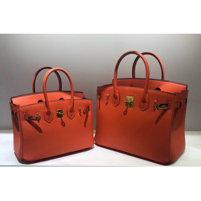 Hermes Birkin Bag Epsom Leather Gold Hardware In Orange