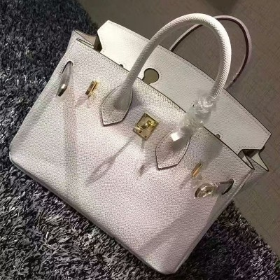Hermes Birkin Bag Epsom Leather Gold Hardware In White