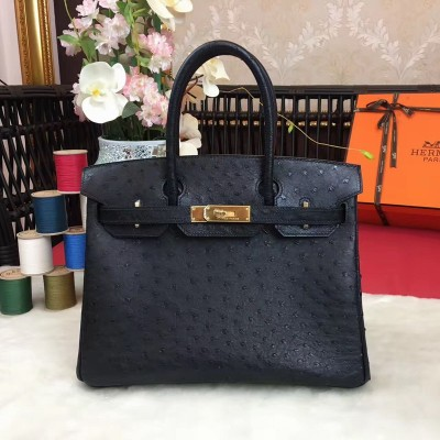 Hermes Birkin Bag Ostrich Leather Gold Hardware In Black