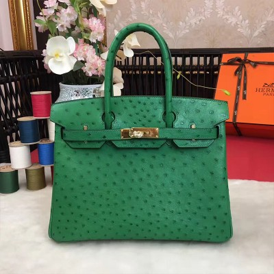 Hermes Birkin Bag Ostrich Leather Gold Hardware In Green