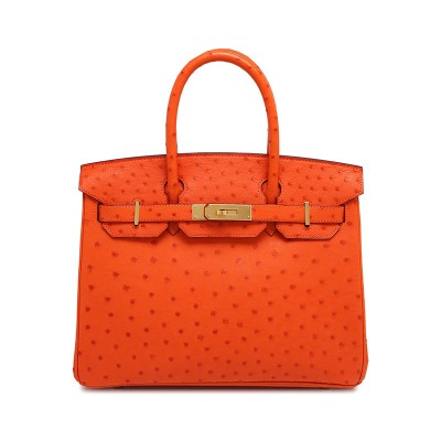 Hermes Birkin Bag Ostrich Leather Gold Hardware In Orange