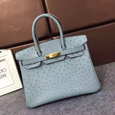 Hermes Birkin Bag Ostrich Leather Gold Hardware In Sky Blue