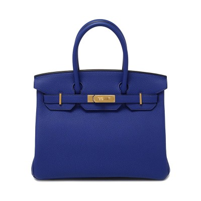 Hermes Birkin Bag Togo Leather Gold Hardware In Blue