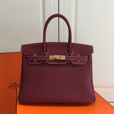 Hermes Birkin Bag Togo Leather Gold Hardware In Burgundy