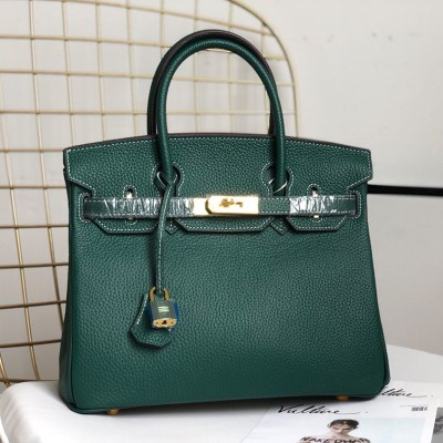 Hermes Birkin Bag Togo Leather Gold Hardware In Emerald