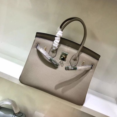Hermes Birkin Bag Togo Leather Gold Hardware In Light Grey