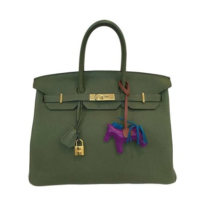Hermes Birkin Bag Togo Leather Gold Hardware In Military Green