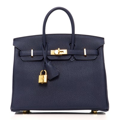 Hermes Birkin Bag Togo Leather Gold Hardware In Navy Blue