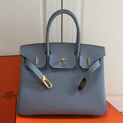 Hermes Birkin Bag Togo Leather Gold Hardware In Sky Blue