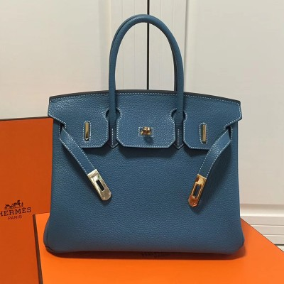 Hermes Birkin Bag Togo Leather Gold Hardware In Teal