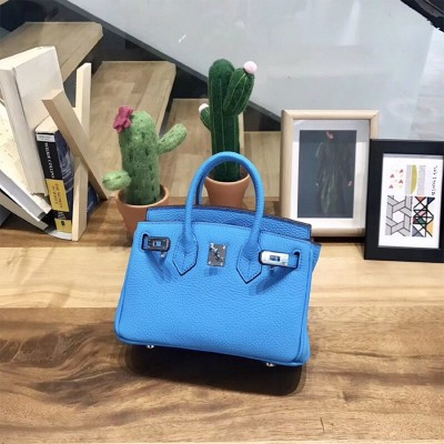 Hermes Birkin Bag Togo Leather Palladium Hardware In Blue