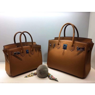 Hermes Birkin Bag Togo Leather Palladium Hardware In Brown