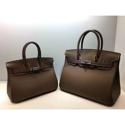 Hermes Birkin Bag Togo Leather Palladium Hardware In Coffee