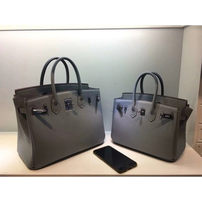 Hermes Birkin Bag Togo Leather Palladium Hardware In Grey