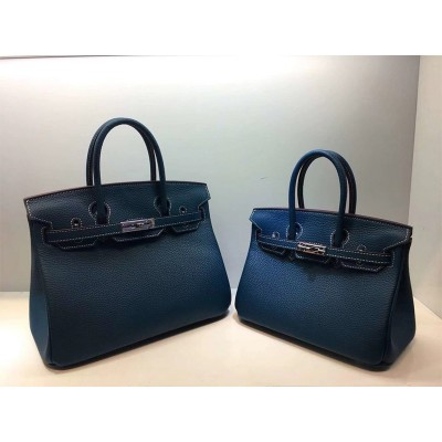 Hermes Birkin Bag Togo Leather Palladium Hardware In Navy Blue