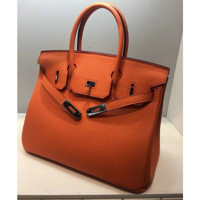 Hermes Birkin Bag Togo Leather Palladium Hardware In Orange