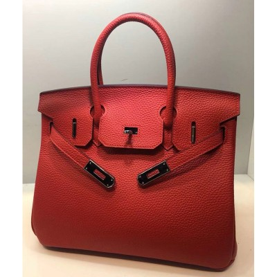 Hermes Birkin Bag Togo Leather Palladium Hardware In Red