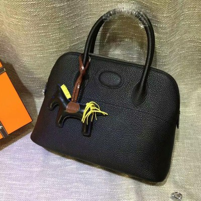 Hermes Bolide Bag Togo Leather Palladium Hardware In Black