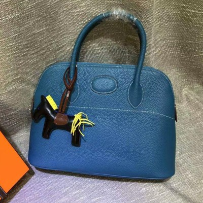 Hermes Bolide Bag Togo Leather Palladium Hardware In Blue
