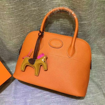 Hermes Bolide Bag Togo Leather Palladium Hardware In Orange
