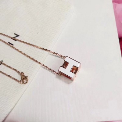 Hermes Cage D'H Pendant Necklace In White