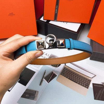 Hermes Collier De Chien 18 Belt Espom Leather In Teal