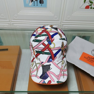 Hermes Chain Pattern Baseball Cap In White
