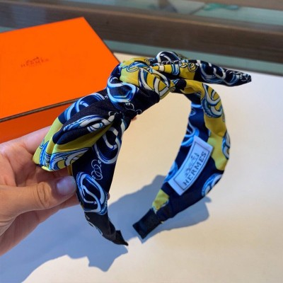 Hermes Chain Pattern Bow-knot Headband Blue