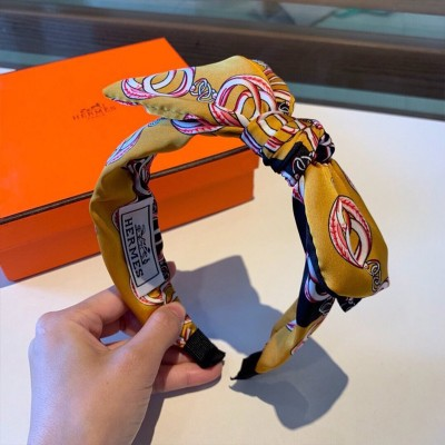 Hermes Chain Pattern Bow-knot Headband Yellow