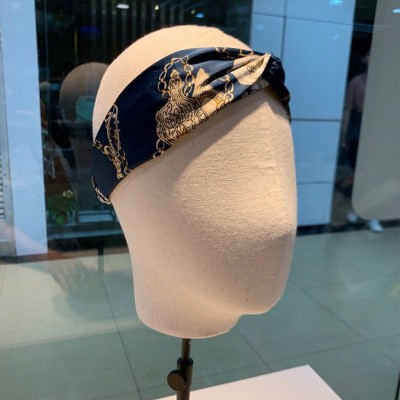 Hermes Chain Pattern Headband Blue